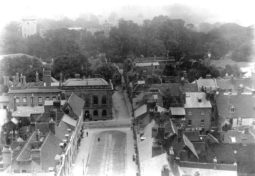 View of castle and south side of town taken from the tower of St Mary's Church, Warwick.  1890s |  IMAGE LOCATION: (Warwickshire County Record Office)