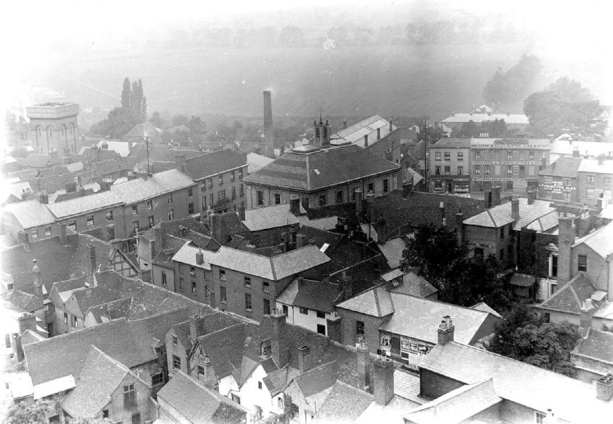 View West from the tower of St Mary's Church, Warwick.  1890s |  IMAGE LOCATION: (Warwickshire County Record Office)