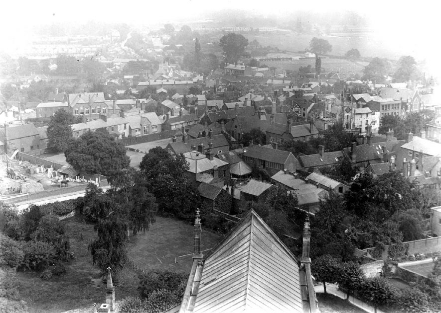 View East from the tower of St Mary's Church, Warwick.  1890s |  IMAGE LOCATION: (Warwickshire County Record Office)