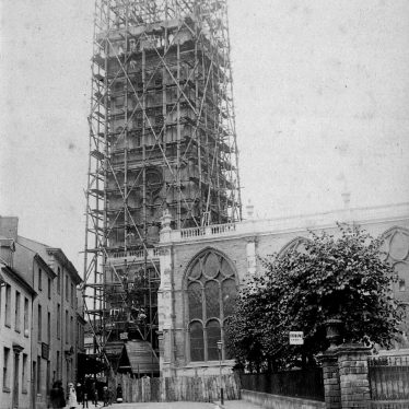 Warwick.  St Mary's Church tower under scaffolding.