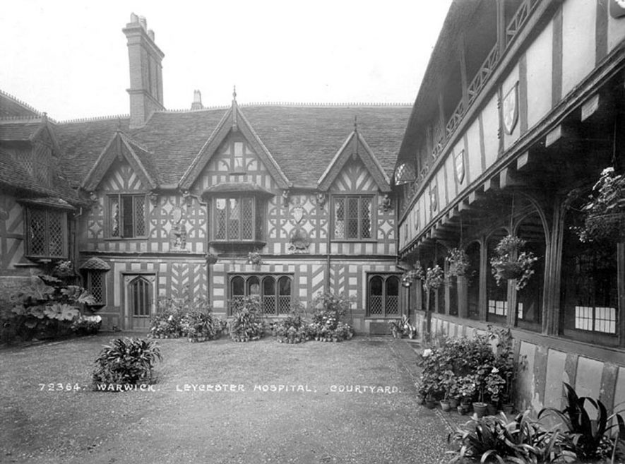 The courtyard of the Leycester Hospital, Warwick.  1920 |  IMAGE LOCATION: (Warwickshire County Record Office)