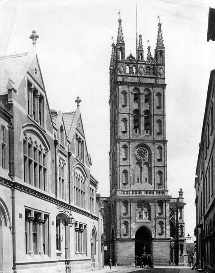 Old Square showing the church tower and post office, Warwick.  1890 |  IMAGE LOCATION: (Warwickshire County Record Office)