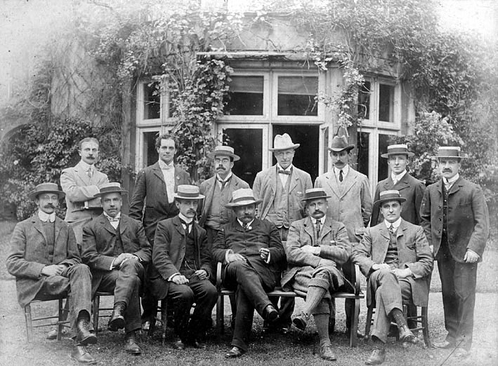 Warwick Pageant Committee members outside The Pageant House, Warwick.  1906 |  IMAGE LOCATION: (Warwickshire County Record Office) PEOPLE IN PHOTO: Tibbits, Oliver, Tibbits, J Snr, Tibbits, Hubert, Tibbits as a surname, Parker, Lewis, Parker as a surname, Hicks, Edward, Hicks as a surname, Chadwick, Lloyd, Chadwick as a surname, Brown, Malcolm, Brown as a surname, Armstrong, Charles, Armstrong as a surname