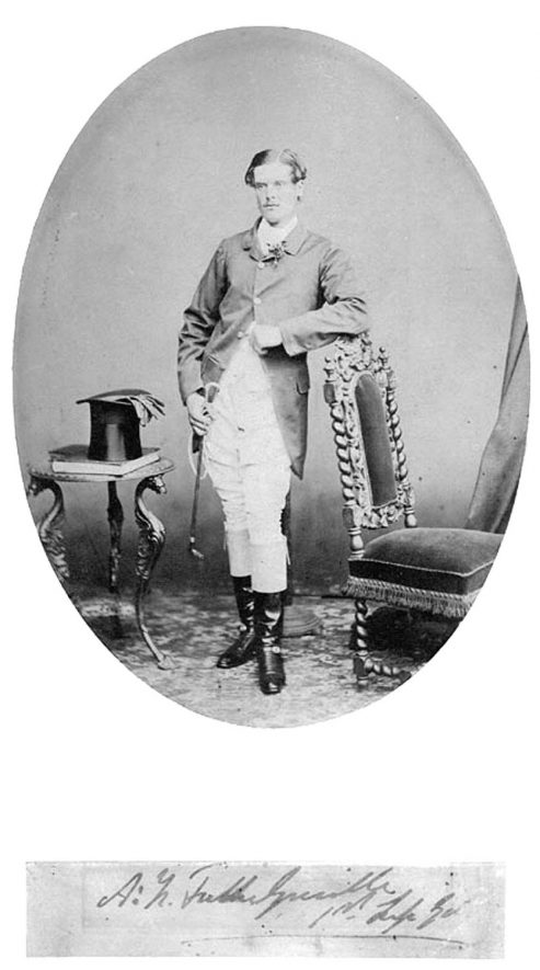 Portrait of  A H Fulke Greville, son of the 4th Earl of Warwick, 1854-1929.  c.1875 |  IMAGE LOCATION: (Warwickshire County Record Office) IMAGE DATE: (c.1875) PEOPLE IN PHOTO: Greville, A H Fulke, Greville as a surname