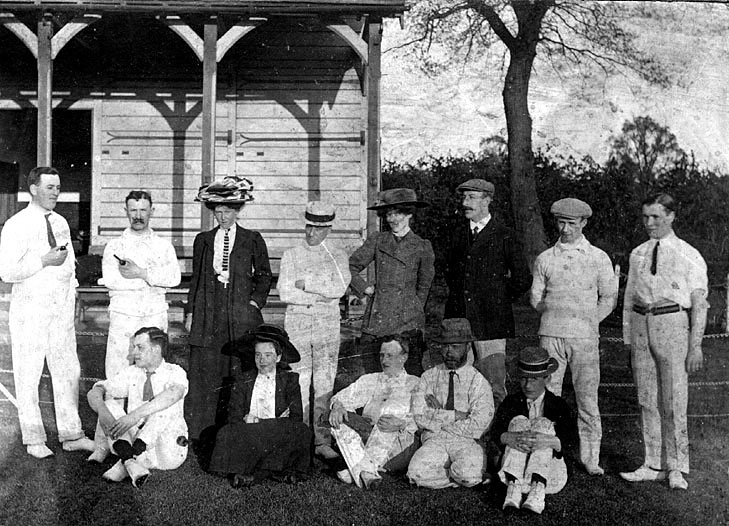 Cricket team and three ladies at The Eagle Sports Ground, Warwick.  c.1912 |  IMAGE LOCATION: (Warwickshire County Record Office) IMAGE DATE: (c.1912)