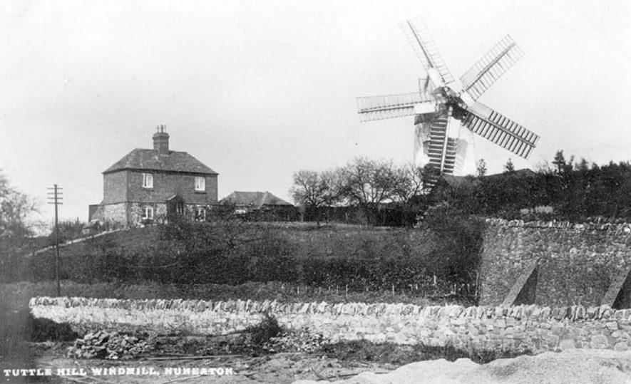 Tuttle Hill Windmill, Nuneaton.  1920s. Also known as Tuttle Hill, Caledecote.