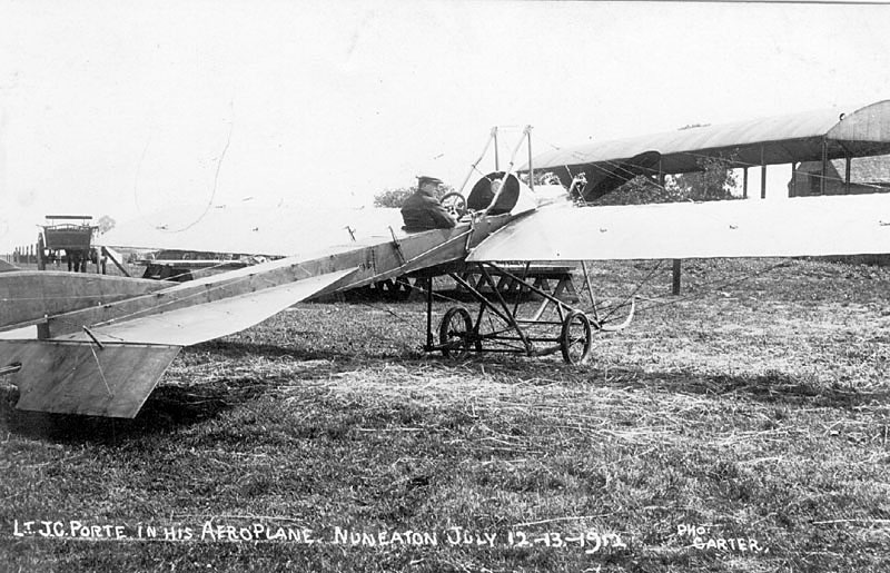 Lt. J.C. Porte and his aeroplane, Nuneaton.  12th July 1912    IMAGE LOCATION: (Warwickshire County Record Office) PEOPLE IN PHOTO: Porte, Lt J C, Porte as a surname
