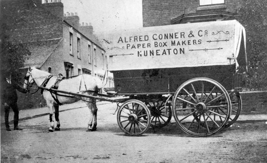 Horse drawn wagon belonging to Alfred Connor & Co. Paper Box Makers, Nuneaton.  1900s |  IMAGE LOCATION: (Warwickshire County Record Office)