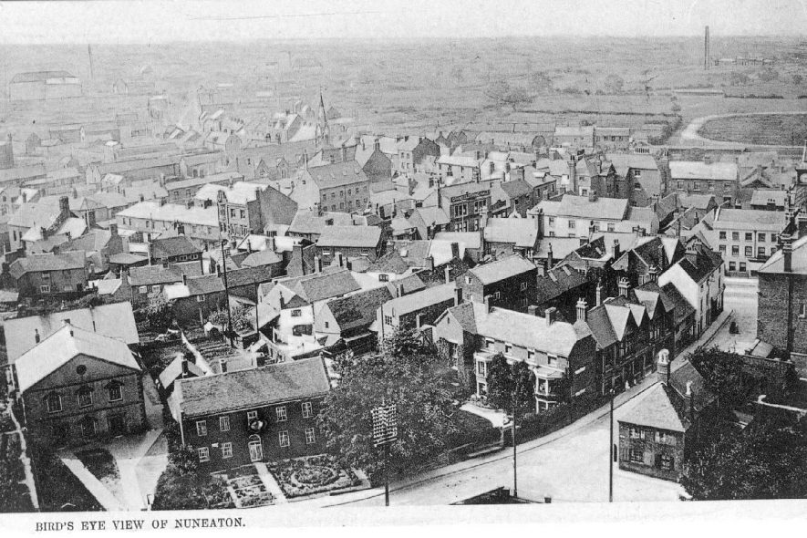 Bird's eye view of Nuneaton taken from the chimney of the Electric Light Company.  1900s |  IMAGE LOCATION: (Warwickshire County Record Office)