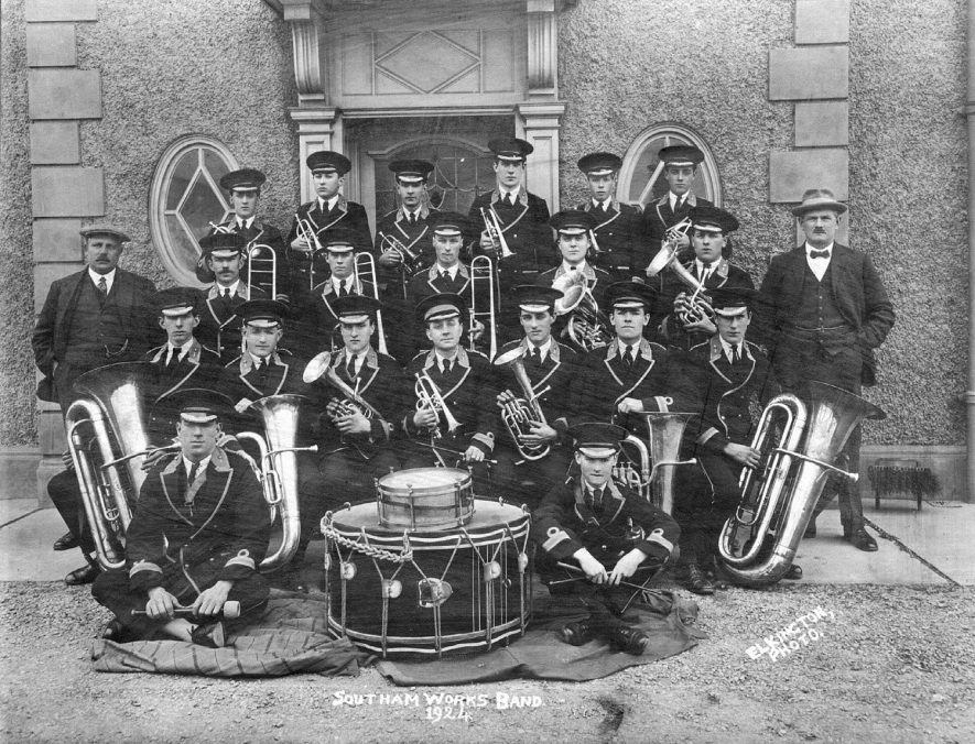 Southam Works band (Kaye & Co. Lime & Cement Works).  Williams, A (back row 2nd from the right), Wilson, J (back row far left) and Pratt, W (seated in middle).  1924 |  IMAGE LOCATION: (Warwickshire County Record Office) PEOPLE IN PHOTO: Williams, A, Williams as a surname, Pratt, W, Pratt as a surname