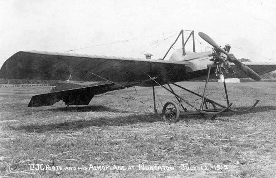 Lt. J.C. Porte in his aeroplane, Nuneaton.  12th July 1912    IMAGE LOCATION: (Warwickshire County Record Office) PEOPLE IN PHOTO: Porte, Lt J C, Porte as a surname