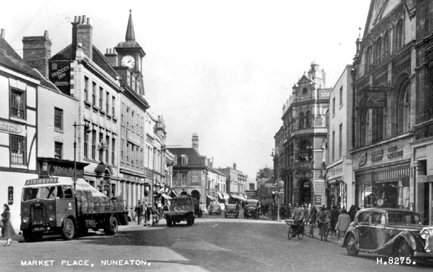 General view of Market Place, Nuneaton.  1950s |  IMAGE LOCATION: (Warwickshire County Record Office)