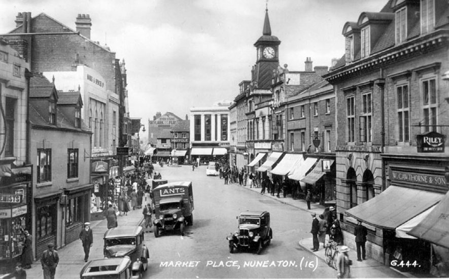 General view of Market Place, Nuneaton.  1940s |  IMAGE LOCATION: (Warwickshire County Record Office)