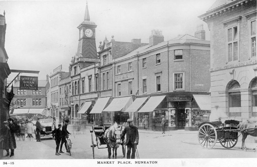 Market Place, Nuneaton.  1920s |  IMAGE LOCATION: (Warwickshire County Record Office)