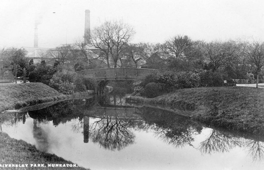 Riversley Park, Nuneaton with a factory in the background, possibly a flour mill.  1920s |  IMAGE LOCATION: (Warwickshire County Record Office)