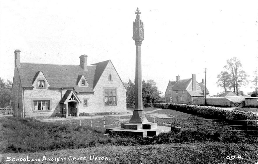 Ufton showing school and cross.  1914 |  IMAGE LOCATION: (Warwickshire County Record Office)