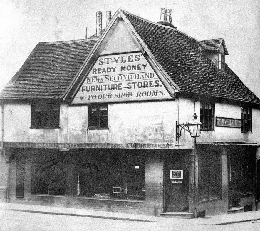 Styles furniture shop on the corner of Smith Street and Chapel Street, Warwick.  1880s |  IMAGE LOCATION: (Warwickshire County Record Office)