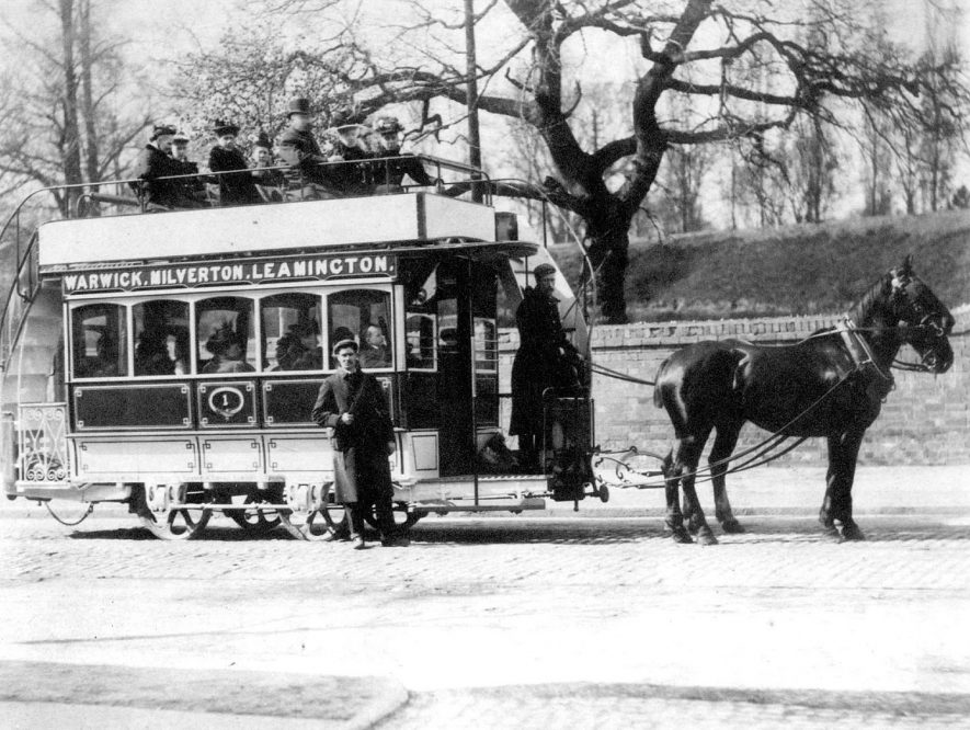 A horse-drawn tram in Warwick.  1900s |  IMAGE LOCATION: (Warwickshire County Record Office)