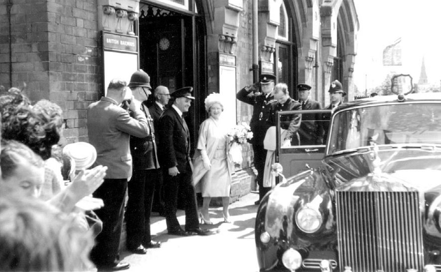 Her Majesty, Queen Elizabeth, The Queen Mother leaving Kenilworth Station on her way to visit The Royal Show at Stoneleigh.  July 9th 1964 |  IMAGE LOCATION: (Warwickshire County Record Office) PEOPLE IN PHOTO: Elizabeth, The Queen Mother