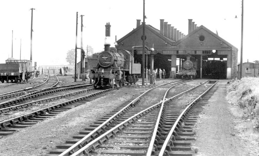 G.W.R. Locomotive shed on last day of operation and steam engines and wagons, Leamington Spa.  12th June 1965 |  IMAGE LOCATION: (Warwickshire County Record Office)