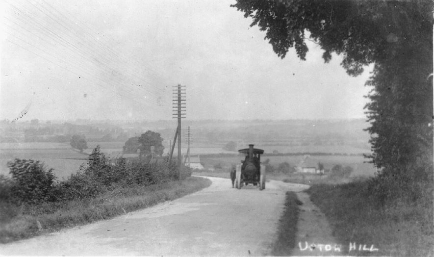 Ufton Hill, shows traction engine farms in the middle distance.  1920s |  IMAGE LOCATION: (Warwickshire County Record Office)