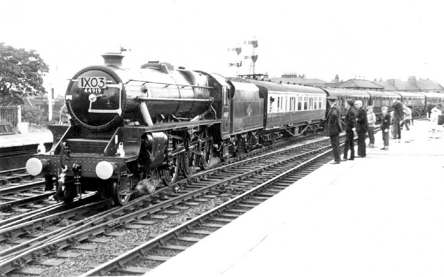 Leamington Spa railway station. Royal train conveying the Queen Mother to Stratford upon Avon.  11th July 1964 |  IMAGE LOCATION: (Warwickshire County Record Office)