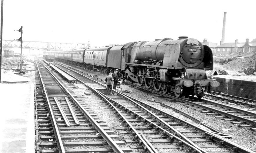 The Mid-Day Scot from Euston to Glasgow passing through Rugby Station hauled by