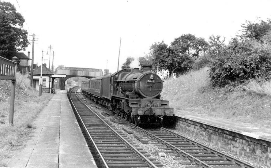Claverdon Station.  The Leamington to Gloucester train hauled by