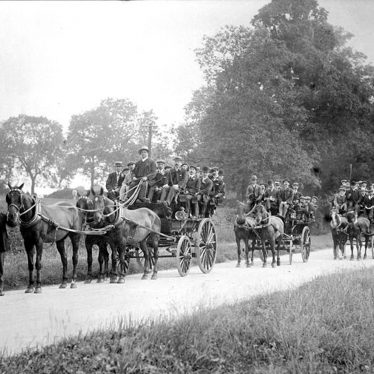 Rugby.  Horse drawn charabanc
