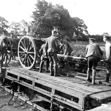 Rugby.  Howitzer Battery at the G.C.R Railway Station