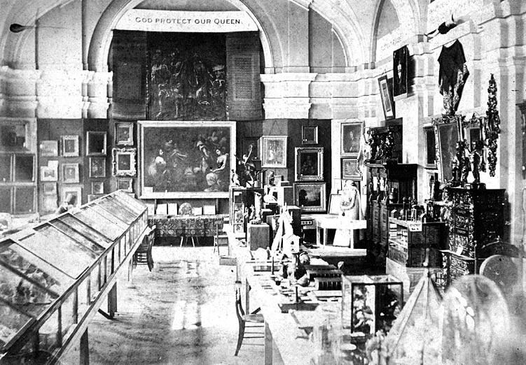 Exhibition of art and other exhibits in The Town Hall, Rugby.  1862 |  IMAGE LOCATION: (Warwickshire County Record Office)