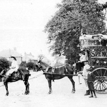 Rugby.  Spencer's Clothing Market, horse drawn vehicle