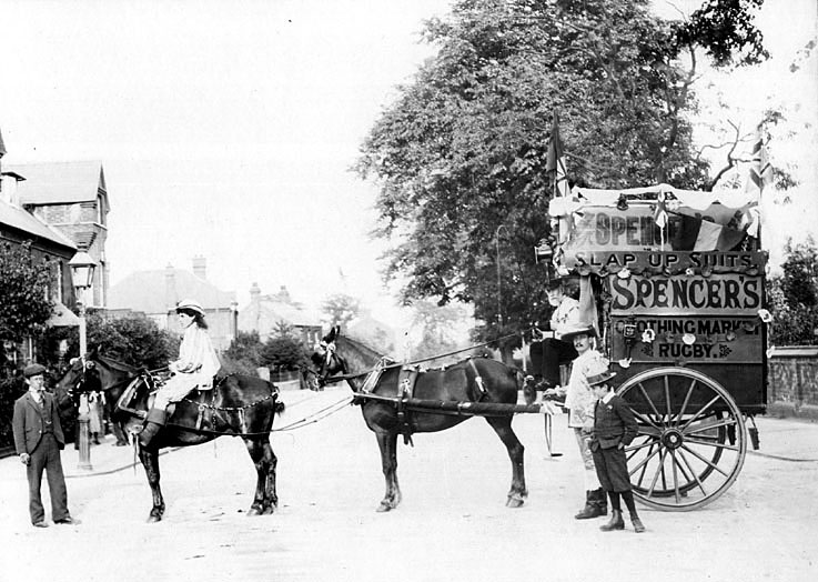 Horse drawn vehicle belonging to Spencer's Clothing Market, Rugby.  1900s |  IMAGE LOCATION: (Warwickshire County Record Office)