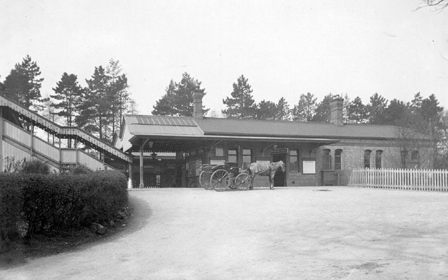 Horse and carriage waiting for the arrival of passengers at Lapworth railway station.  1900s |  IMAGE LOCATION: (Warwickshire County Record Office)