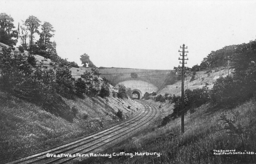 Great Western Railway cutting, Harbury; showing the track and railway bridge.  1910s |  IMAGE LOCATION: (Warwickshire County Record Office)