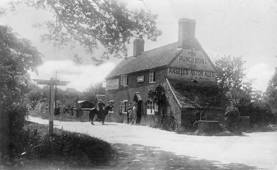 The Punch Bowl public house with a customer on horseback 1920s. |  IMAGE LOCATION: (Warwickshire County Record Office)