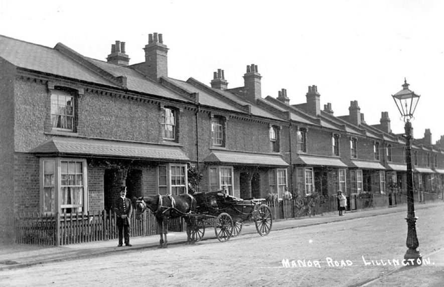 Terraced houses in Manor Road, Lillington.  1900s |  IMAGE LOCATION: (Warwickshire County Record Office)