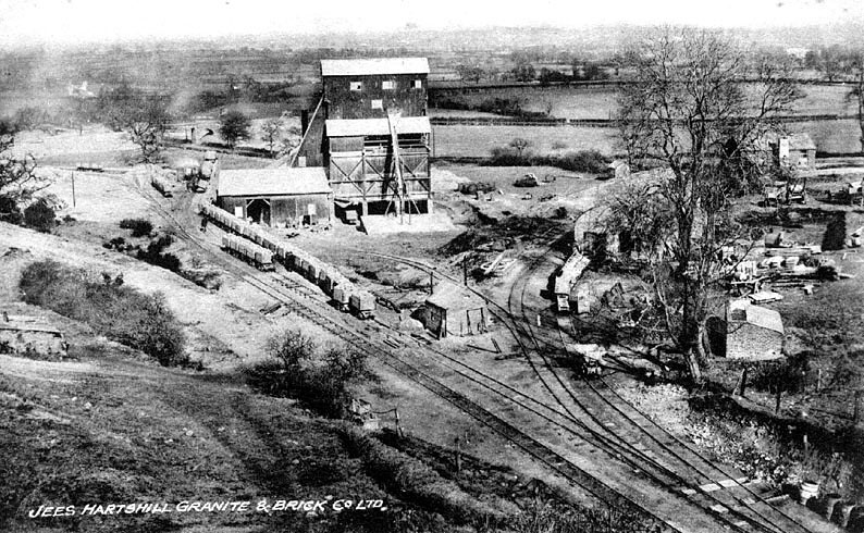 Jees Granite and Brick Co. Ltd. quarry, Hartshill, showing quarry buildings and railways.  1910s |  IMAGE LOCATION: (Warwickshire County Record Office)