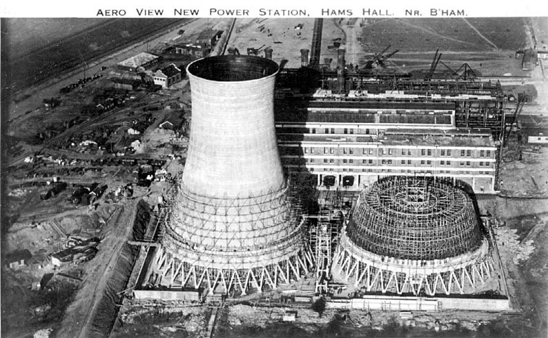 View from the air of Hams Hall, Power Station.  1928 |  IMAGE LOCATION: (Warwickshire County Record Office)
