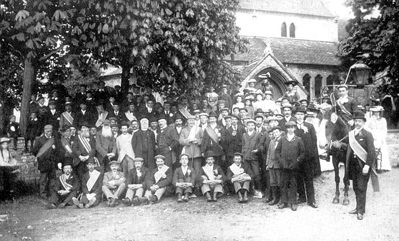 Oddsfellows' parade outside Marton church.  1900s |  IMAGE LOCATION: (Warwickshire County Record Office)
