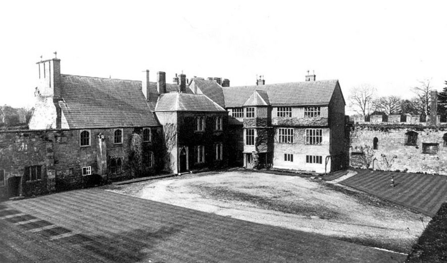 Maxstoke Castle, Tudor House from entrance towers.  1930s |  IMAGE LOCATION: (Warwickshire County Record Office)