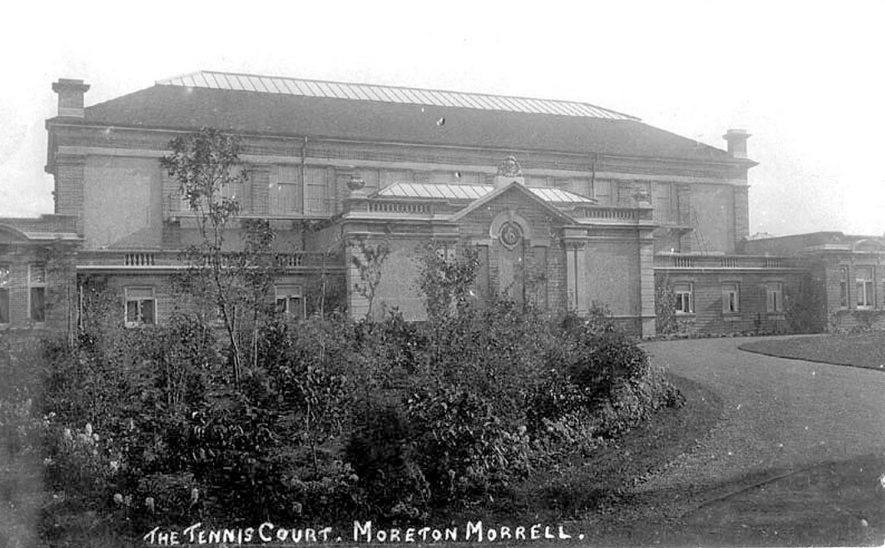 The outside of the real tennis court at Morton Morrell.  1900s |  IMAGE LOCATION: (Warwickshire County Record Office)
