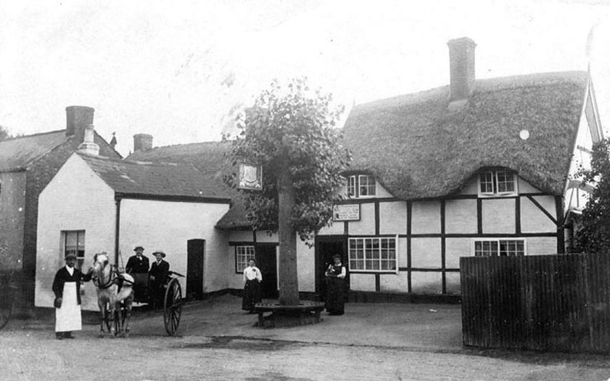 Pony and trap outside the Three Horse Shoes public house at Newbold on Avon.  1900s    IMAGE LOCATION: (Warwickshire County Record Office)