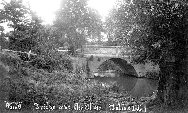 Tranquil scene by the Stour at Talton Mill.  1920s [The mill was operated by a Mr.Budden from 1941. He and his family lived in a detached overlooking the mill.The owners the