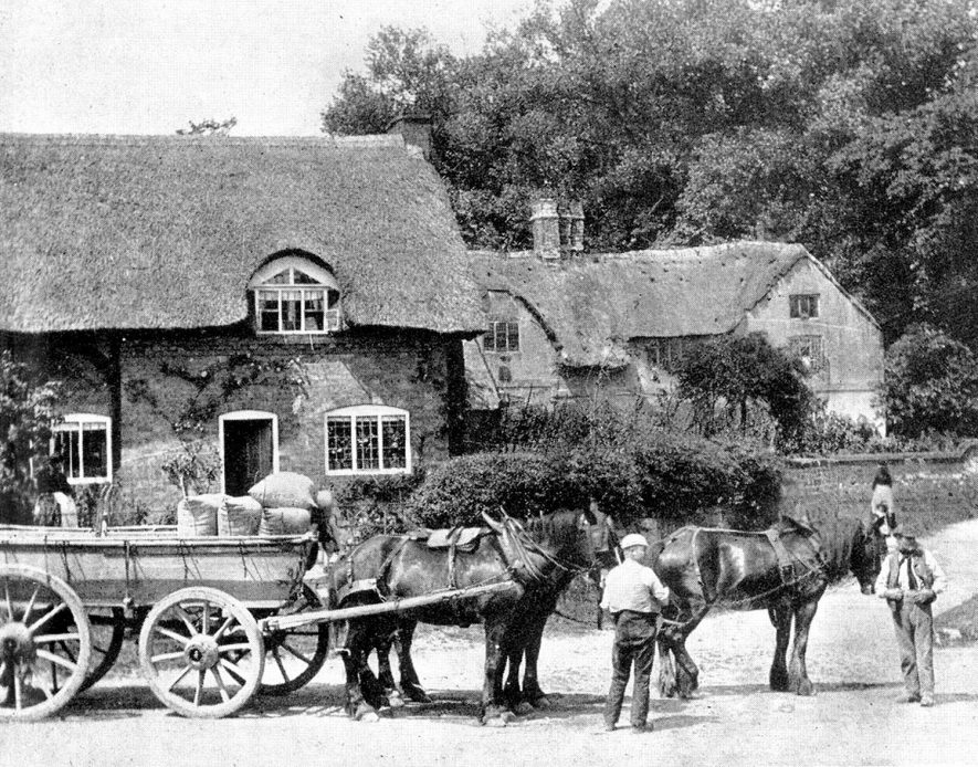 Horses and cart outside thatched cottages in Newton Regis.  1910s  [The house at the rear (in an earlier thatched form ) has gables dated 1897, however the photo is estimated as being between 1910-1919, which is clearly incorrect given the dating of the gables.] |  IMAGE LOCATION: (Warwickshire County Record Office)