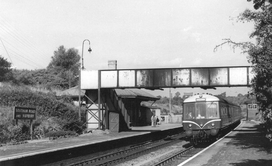 Southam Road and Harbury G.W.R. Station, showing diesel train on the track.  1959 |  IMAGE LOCATION: (Warwickshire County Record Office)