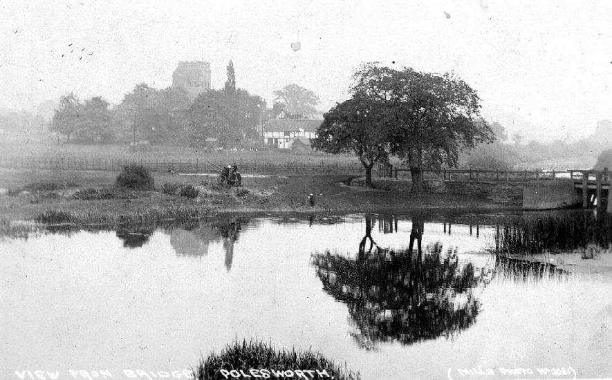 View from the bridge over the River Anker, Polesworth.  1910 |  IMAGE LOCATION: (Warwickshire County Record Office)