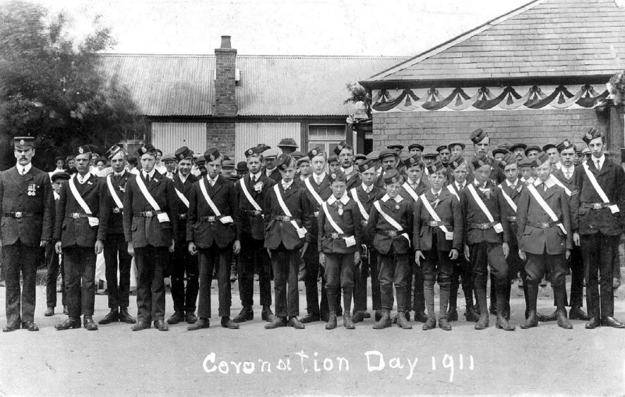 Church Lads' Brigade parade at the Coronation, Polesworth.  1911 [The Church Lads' Brigade was a very similar organisation to the Boys' Brigade. It was formed in October 1883 and was specifically for the Anglican Church. It has now combined with girls to form the Church Lads' and Church Girls' Brigade] |  IMAGE LOCATION: (Warwickshire County Record Office)