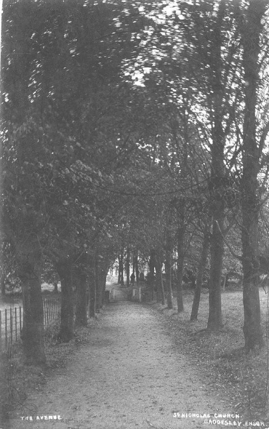 The avenue, St Nicholas Church, Baddesley Ensor.  1900s |  IMAGE LOCATION: (Warwickshire County Record Office)