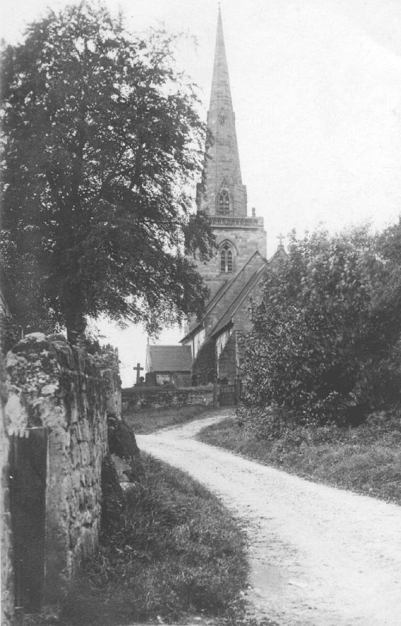 Seckington Parish Church and part of churchyard.  1910s |  IMAGE LOCATION: (Warwickshire County Record Office)